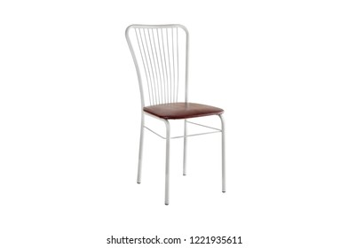 Silver color high spinning bar stool, chair, wood, metal chair, modern designer. Chair isolated on white background. Series of furniture