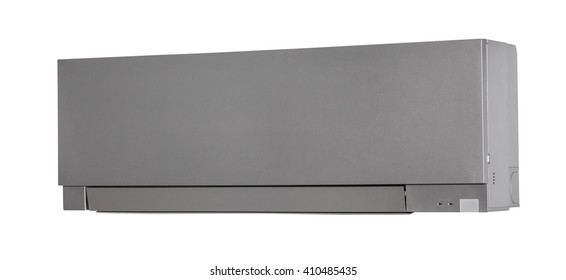 Silver colored air condition isolated on white background