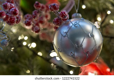 Silver colored christmas ball