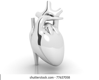 silver coloured  human heart  isolated on white background