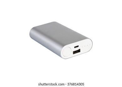 silver coloured powerbank on a white background. lying down, usb port facing viewer.