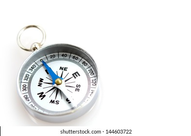 The Silver Compass isolated on white background.