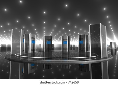 silver computer-like objects in a shiny reflective room