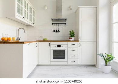 Silver cooker hood in minimal white kitchen interior with plant on wooden countertop. Real photo - Shutterstock ID 1105740260