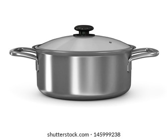 Silver cooking pot from low perspective isolated on white. 3d