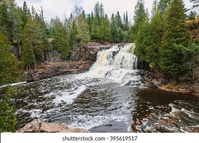 Silver Creek Township, MN, USA - OCTOBER 14, 2015: Gooseberry Falls State Park.Waterfall landscape autumn view near Lake Superior, Minnesota