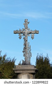 Silver cross monument with Jesus Christ crucifix