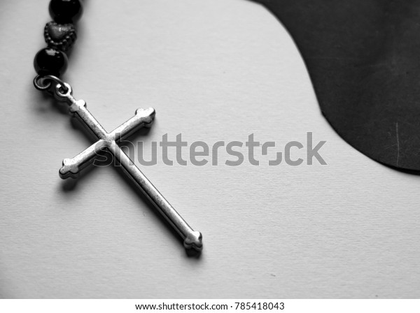 Silver Cross On Black White Background Stock Photo (Edit Now
