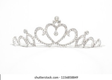 silver crown with heart and diamonds isolated on white