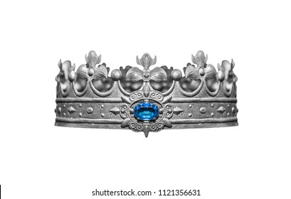 Silver crown with jewels isolated on white background.
