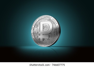 Silver crypto ruble cryptocurrency single coin on blue background. Concept coin. 3D rendering