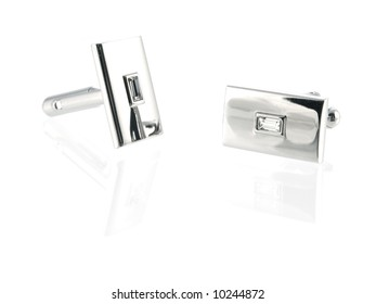 silver cuff link isolated on white background