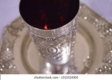 Silver Cup of Wine for Jewish Religious Ceremonies