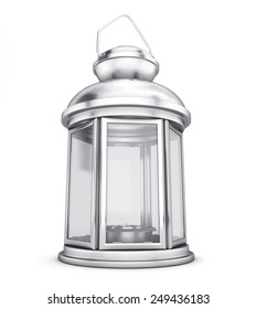 Silver decorative lantern in the old style close-up. 3d render image.