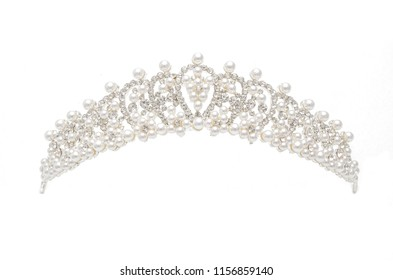 silver diadem with diamonds and pearls isolated on white