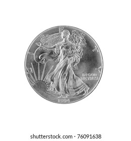 silver dollar isolated on white