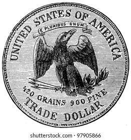 """Silver Dollar, USA, 1874 - an illustration to articke """"Coins"""" of the encyclopedia publishers Education, St. Petersburg, Russian Empire, 1896"""