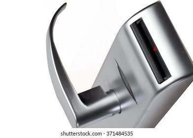 silver doorknob on white
