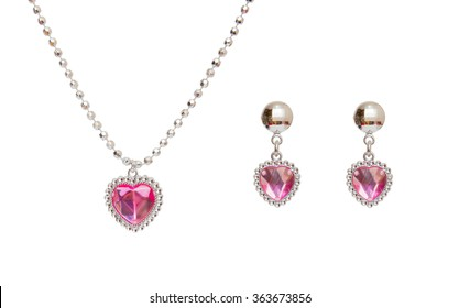 Silver earrings and necklace isolated on the white background