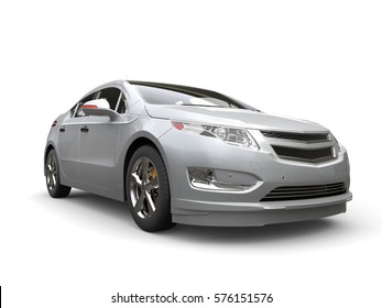 Silver electric modern car - front view - 3D Render