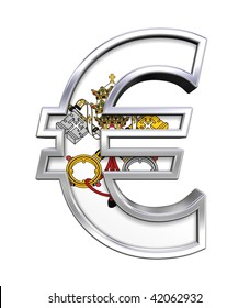 Silver Euro sign with Vatican City flag isolated on white. Computer generated 3D photo rendering.