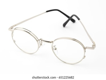 silver Eye Glasses Folded Isolated on White.