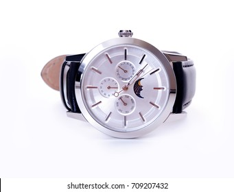 Silver face wristwatch on white background