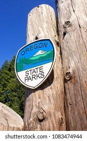Silver Falls State Park/Oregon - 08 07 2011: Oregon State Parks sign on wooden pole