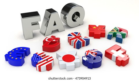 Silver FAQ and currency symbol. 3D illustration