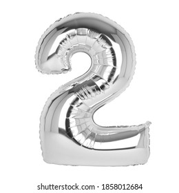 Silver foil balloons with numbers on a white background