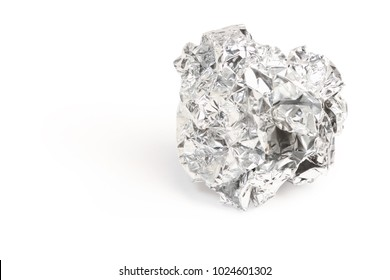 Silver foil with shiny crumpled of aluminum paper rubbish isolated on white background, clipping path.