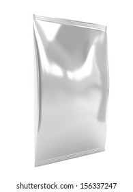 Silver food packaging bag, isolated on white background