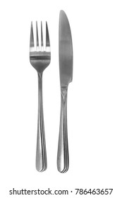 Silver fork and knife detail view isolated on white background