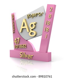 Silver periodic table images stock photos vectors shutterstock silver form periodic table of elements 3d made urtaz Choice Image