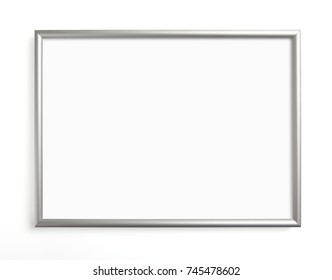 Silver frame for painting or picture on white background