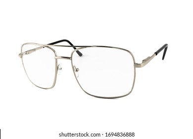 Silver frame pilot aviator reading sunglasses isolated on white background, side view