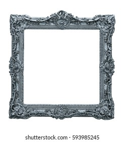 Silver gilded wooden frame for paintings, photographs, mirrors or picture