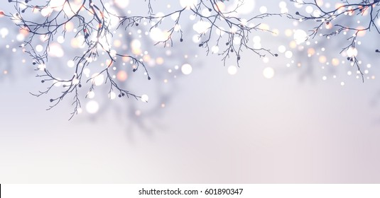 Silver glitter branch banner. Garland sparkles on the tree banner. Light winter morning background.