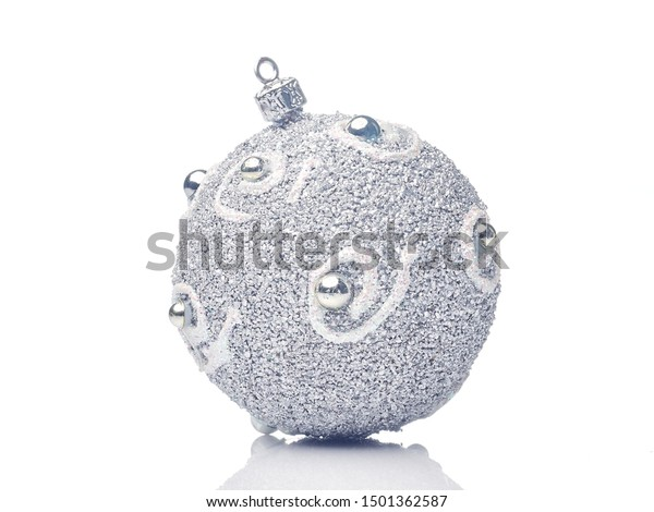Silver Glitter christmas bauble Isolated on white background