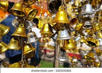 Silver and gold bell ,Bell of temple in thailand. Religious bells in Wat Phra That Phanom, Nakhon Phanom, Thailand
