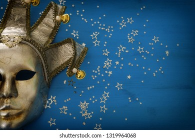 silver with gold elegant traditional venetian mask background