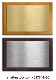 Silver and gold wooden plaques isolated on white set. Clipping paths are included.