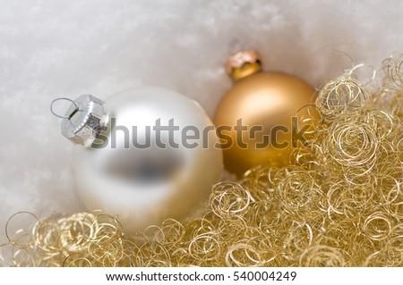 Silver Golden Christmas Tree Balls Snow Stock Photo Edit Now