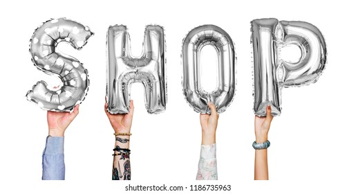 Silver gray alphabet balloons forming the word shop