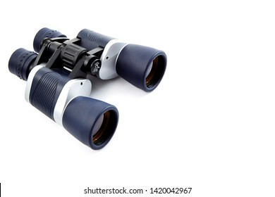 Silver gray and black binoculars isolated on white background
