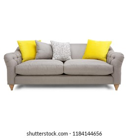 Silver Gray Mid Back Linen Sofa Isolated on White. Front View of Two Seater Couch with Two Accent Scatter Pillows and Yellow Large Bolster Cushions. Upholstered Loveseat with Armrests and Seat Cushion