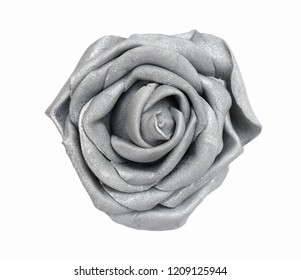 Silver grey glitter rose top view