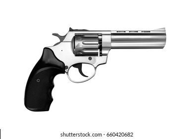 Silver gun pistol isolated on white background