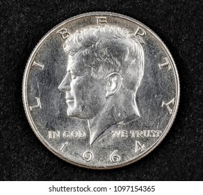 Silver half dollar coin of john Fitzgerald kennedy 1964
