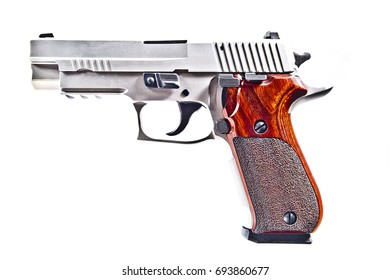 A silver handgun with wood grip on a white background.